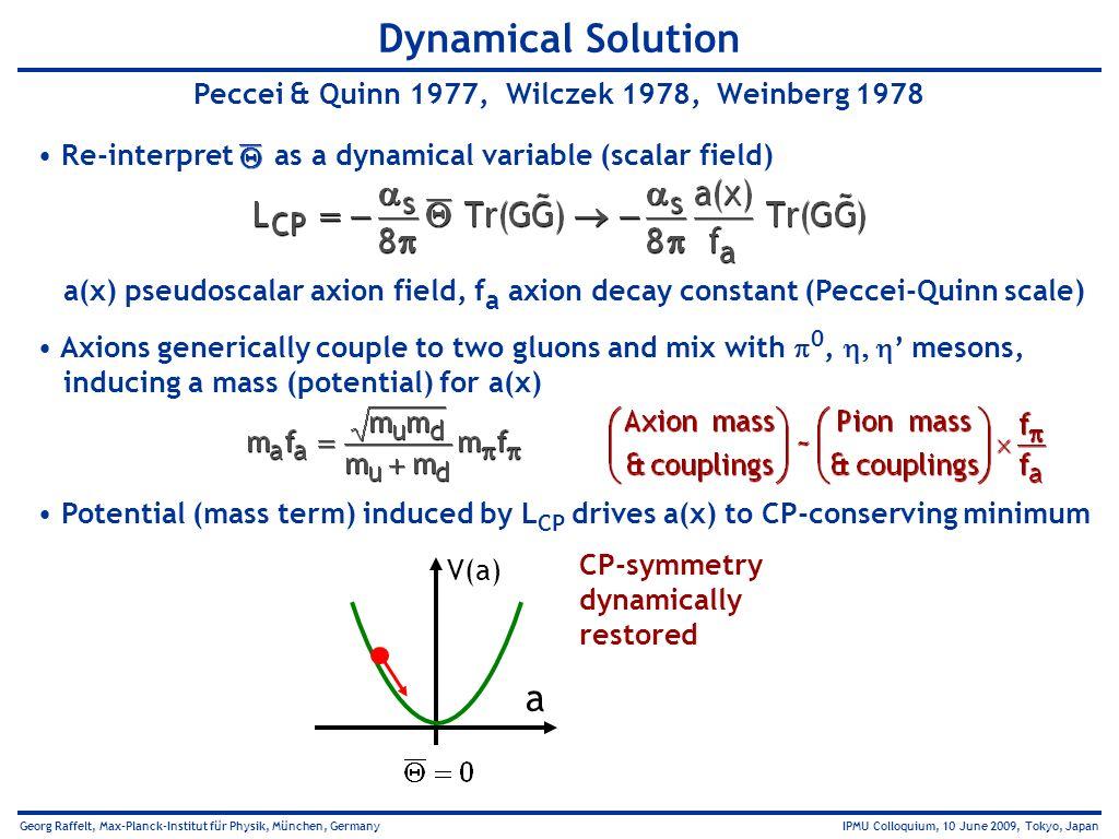 Georg Raffelt, Max-Planck-Institut für Physik, München, Germany IPMU Colloquium, 10 June 2009, Tokyo, Japan Dynamical Solution Peccei & Quinn 1977, Wi