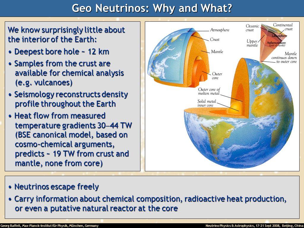 Georg Raffelt, Max-Planck-Institut für Physik, München, Germany Neutrino Physics & Astrophysics, 17-21 Sept 2008, Beijing, China Geo Neutrinos: Why an