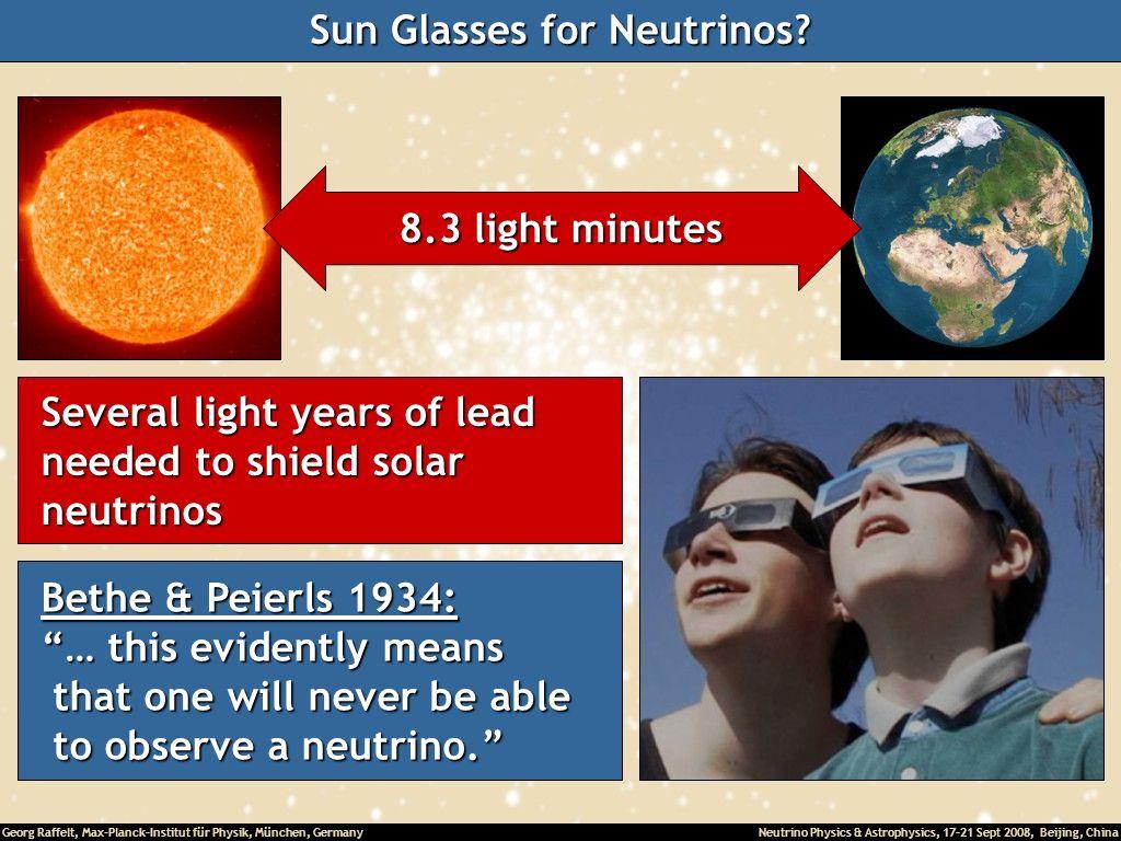 Georg Raffelt, Max-Planck-Institut für Physik, München, Germany Neutrino Physics & Astrophysics, 17-21 Sept 2008, Beijing, China Sun Glasses for Neutr
