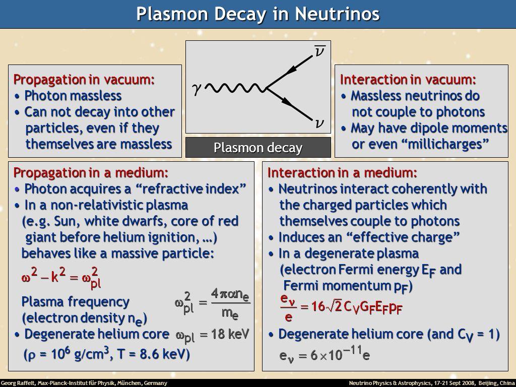 Georg Raffelt, Max-Planck-Institut für Physik, München, Germany Neutrino Physics & Astrophysics, 17-21 Sept 2008, Beijing, China Plasmon Decay in Neut