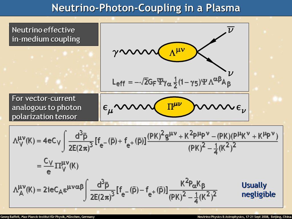 Georg Raffelt, Max-Planck-Institut für Physik, München, Germany Neutrino Physics & Astrophysics, 17-21 Sept 2008, Beijing, China Neutrino-Photon-Coupl