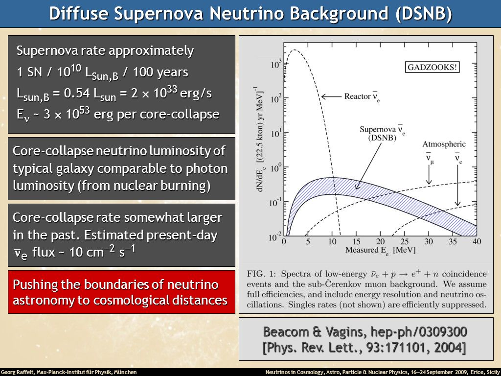 Georg Raffelt, Max-Planck-Institut für Physik, München Neutrinos in Cosmology, Astro, Particle & Nuclear Physics, 16 24 September 2009, Erice, Sicily Diffuse Supernova Neutrino Background (DSNB) Supernova rate approximately Supernova rate approximately 1 SN / 10 10 L Sun,B / 100 years 1 SN / 10 10 L Sun,B / 100 years L sun,B = 0.54 L sun = 2 10 33 erg/s L sun,B = 0.54 L sun = 2 10 33 erg/s E ~ 3 10 53 erg per core-collapse E ~ 3 10 53 erg per core-collapse Core-collapse neutrino luminosity of typical galaxy comparable to photon luminosity (from nuclear burning) Core-collapse rate somewhat larger in the past.