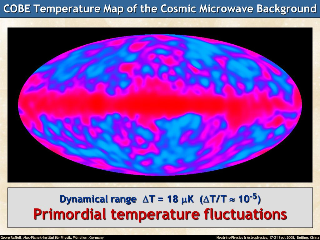 Georg Raffelt, Max-Planck-Institut für Physik, München, Germany Neutrino Physics & Astrophysics, 17-21 Sept 2008, Beijing, China COBE Temperature Map of the Cosmic Microwave Background T = 2.725 K (uniform on the sky) Dynamical range T = 3.353 mK ( T/ T 10 -3 ) Dipole temperature distribution from Doppler effect caused by our motion relative to the cosmic frame Dynamical range T = 18 K ( T/ T 10 -5 ) Primordial temperature fluctuations
