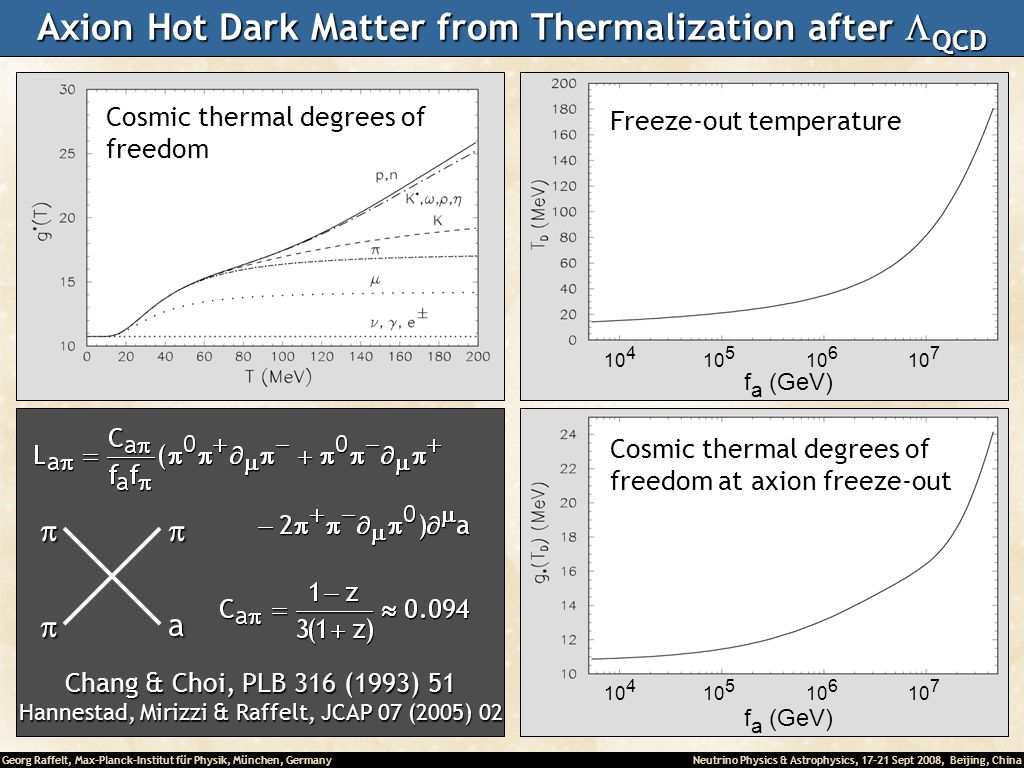 Georg Raffelt, Max-Planck-Institut für Physik, München, Germany Neutrino Physics & Astrophysics, 17-21 Sept 2008, Beijing, China Axion Hot Dark Matter from Thermalization after QCD Freeze-out temperature Cosmic thermal degrees of freedom at axion freeze-out Cosmic thermal degrees of freedoma Chang & Choi, PLB 316 (1993) 51 Hannestad, Mirizzi & Raffelt, JCAP 07 (2005) 02 10 4 10 5 10 6 10 7 10 4 10 5 10 6 10 7 f a (GeV)