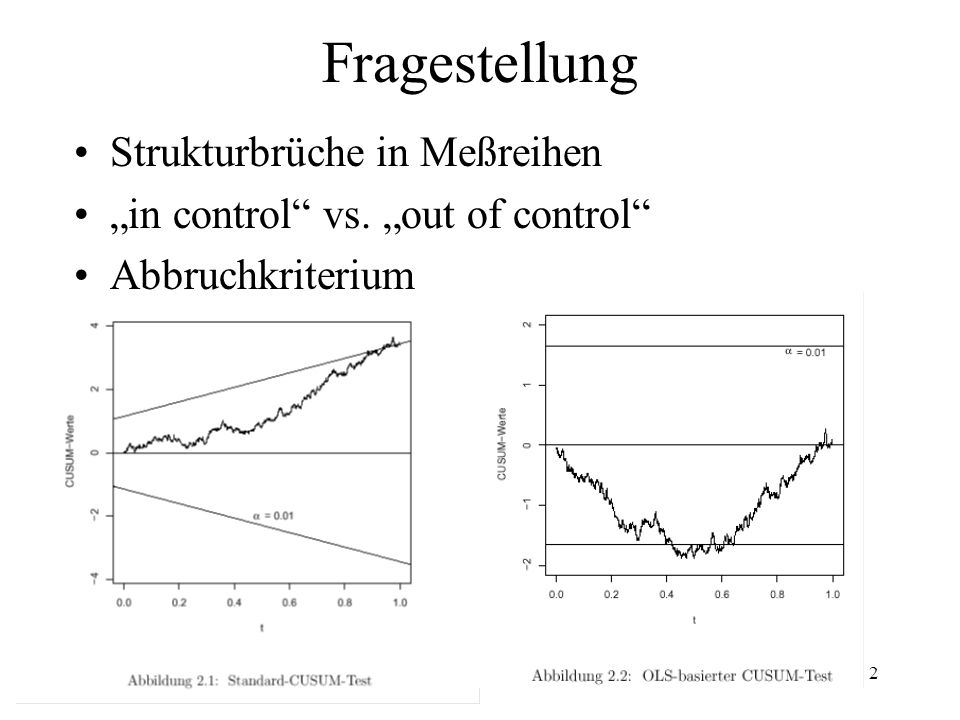 26.1.2003jochen.koubek@hu-berlin.de2 Fragestellung Strukturbrüche in Meßreihen in control vs. out of control Abbruchkriterium