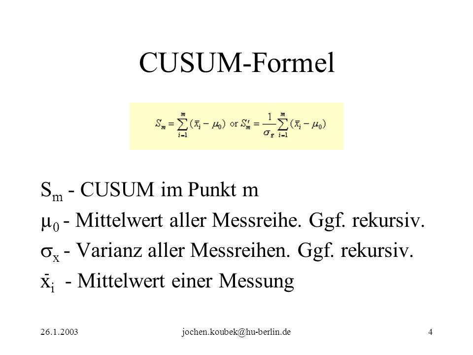 26.1.2003jochen.koubek@hu-berlin.de4 S m - CUSUM im Punkt m µ 0 - Mittelwert aller Messreihe. Ggf. rekursiv. x - Varianz aller Messreihen. Ggf. rekurs