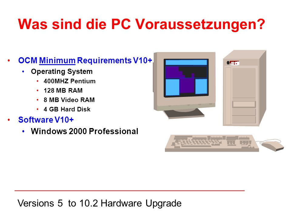 Versions 5 to 10.2 Hardware Upgrade Was sind die PC Voraussetzungen.