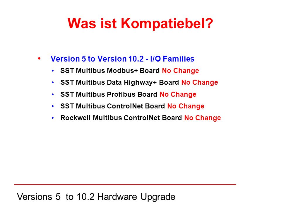 Versions 5 to 10.2 Hardware Upgrade Version 5 to Version I/O Families SST Multibus Modbus+ Board No Change SST Multibus Data Highway+ Board No Change SST Multibus Profibus Board No Change SST Multibus ControlNet Board No Change Rockwell Multibus ControlNet Board No Change Was ist Kompatiebel
