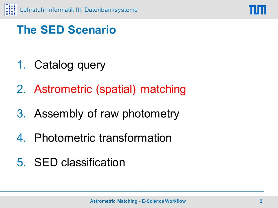 Lehrstuhl Informatik III: Datenbanksysteme 2 Astrometric Matching - E-Science Workflow The SED Scenario 1.Catalog query 2.Astrometric (spatial) matchi