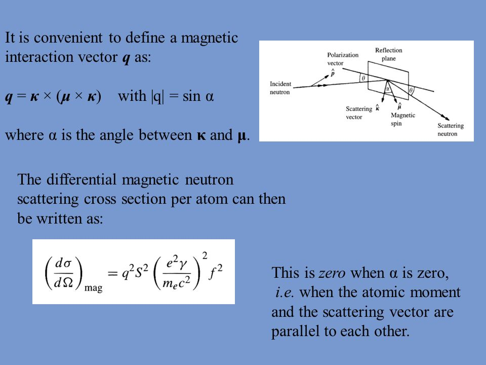 The differential magnetic neutron scattering cross section per atom can then be written as: This is zero when α is zero, i.e. when the atomic moment a