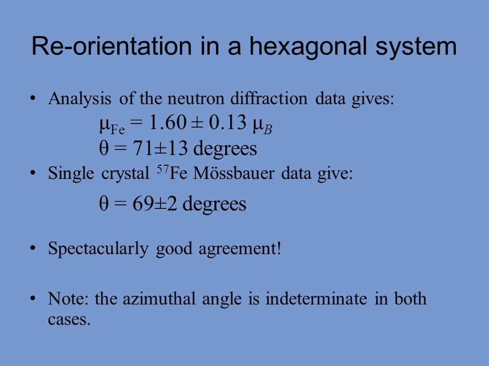 Analysis of the neutron diffraction data gives: Single crystal 57 Fe Mössbauer data give: Spectacularly good agreement! Note: the azimuthal angle is i