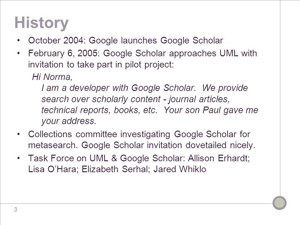 Google Scholar & Other Libraries MIT: libraries.mit.edu/help/google-scholarlibraries.mit.edu/help/google-scholar U of T: main.library.utoronto.camain.library.utoronto.ca Harvard: e-research.lib.harvard.edu/V/FMBN49PTETH NVF81SXKFK5YPFJP JR5LJ3JGEUBIEE1IXAJUYFB-40624?func=find-db-1&pds_handle=GUESTe-research.lib.harvard.edu/V/FMBN49PTETH NVF81SXKFK5YPFJP JR5LJ3JGEUBIEE1IXAJUYFB-40624?func=find-db-1&pds_handle=GUEST U of Georgia: www.libs.uga.edu/www.libs.uga.edu/ California Digital Library: The CDL put together this fine report (pdf) based on a survey of University of California Libraries.