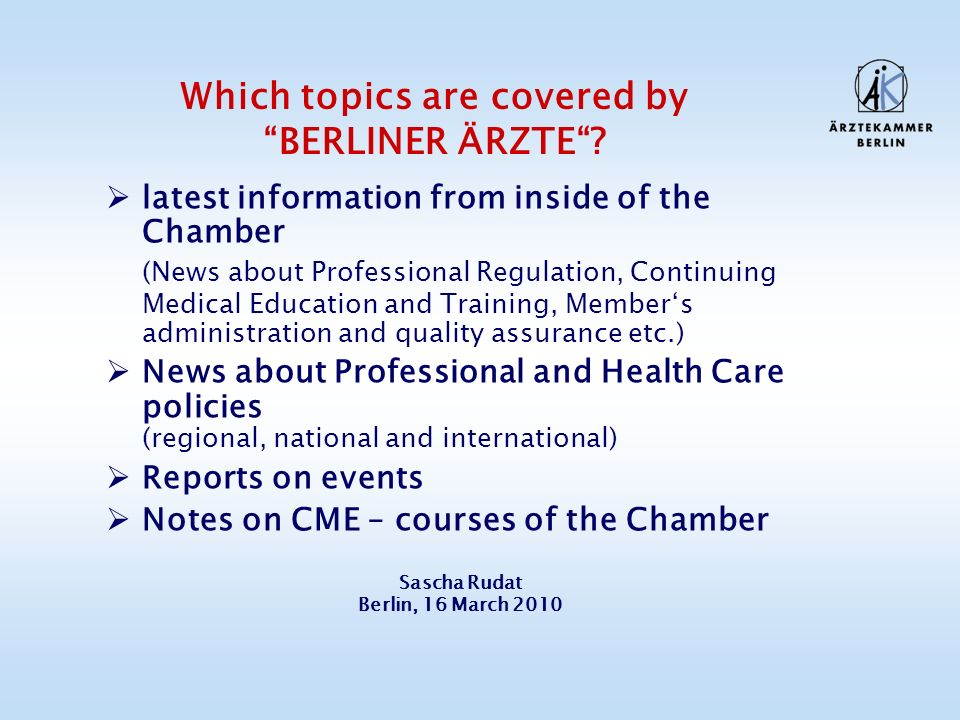 Which topics are covered by BERLINER ÄRZTE.