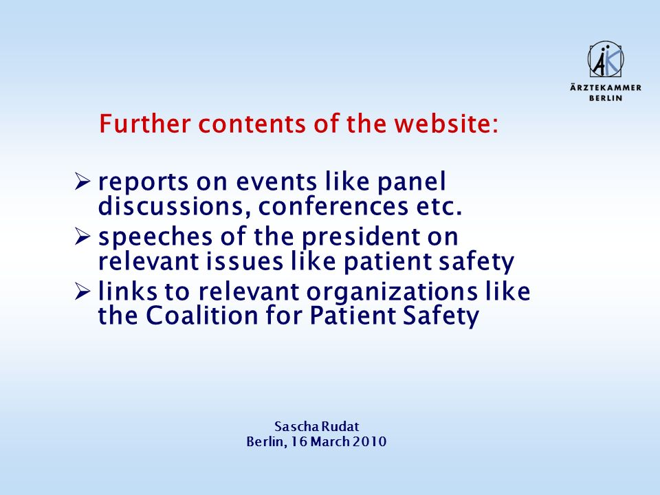 Further contents of the website: reports on events like panel discussions, conferences etc.