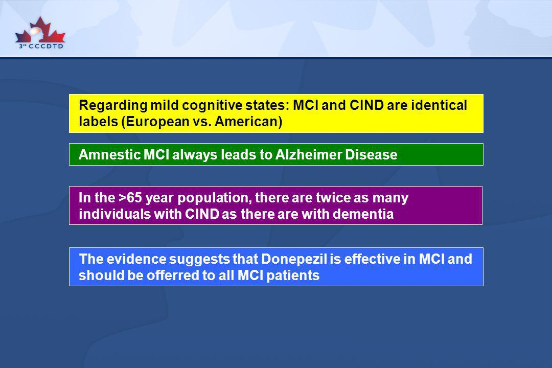 Regarding mild cognitive states: MCI and CIND are identical labels (European vs. American) Amnestic MCI always leads to Alzheimer Disease In the >65 y