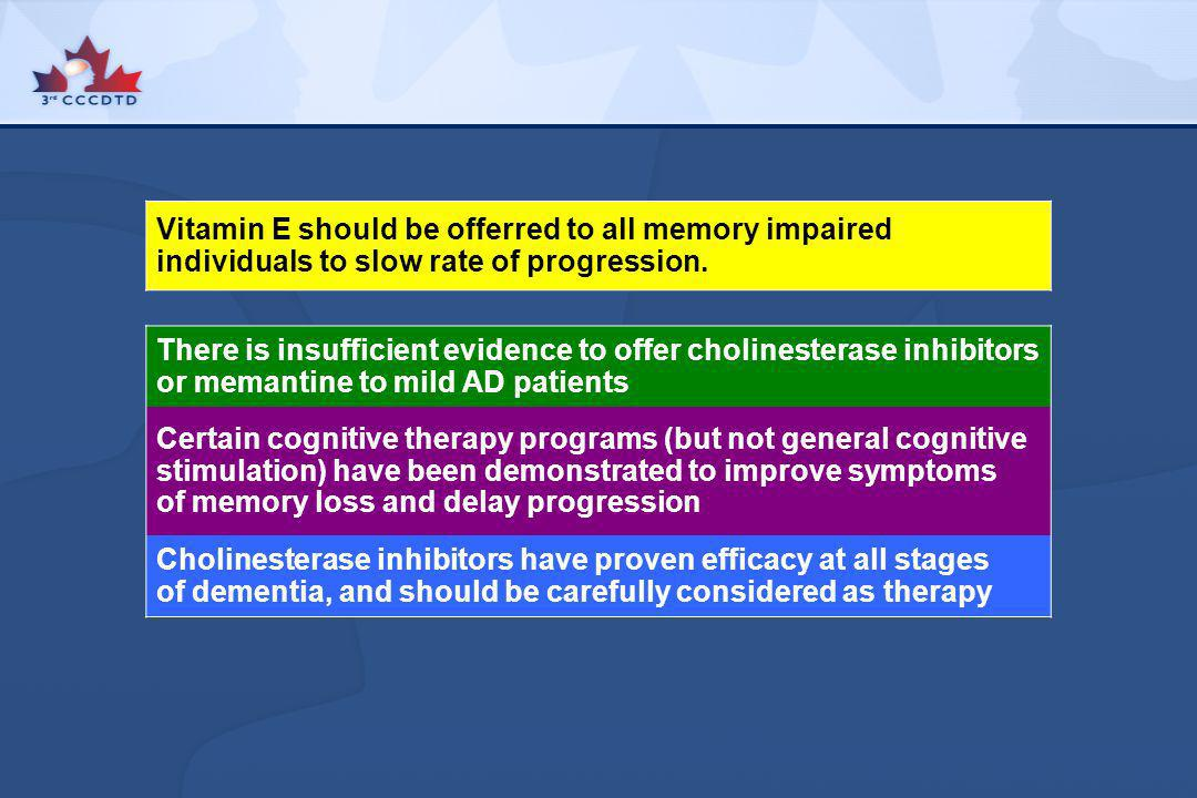There is insufficient evidence to offer cholinesterase inhibitors or memantine to mild AD patients Certain cognitive therapy programs (but not general