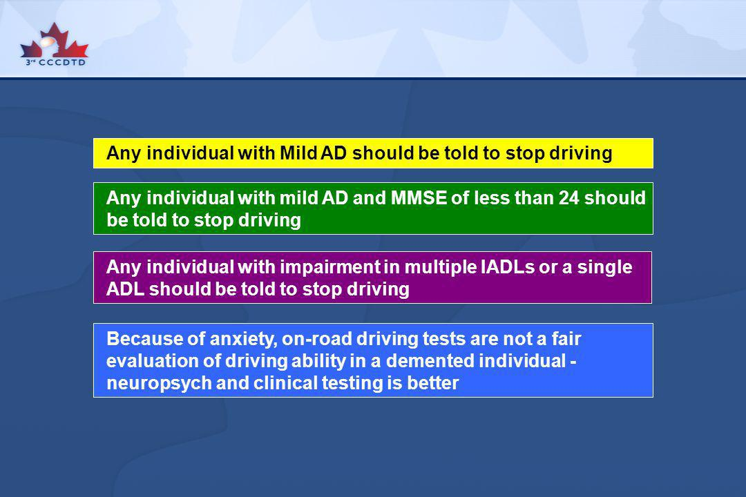 Any individual with Mild AD should be told to stop driving Any individual with mild AD and MMSE of less than 24 should be told to stop driving Any ind
