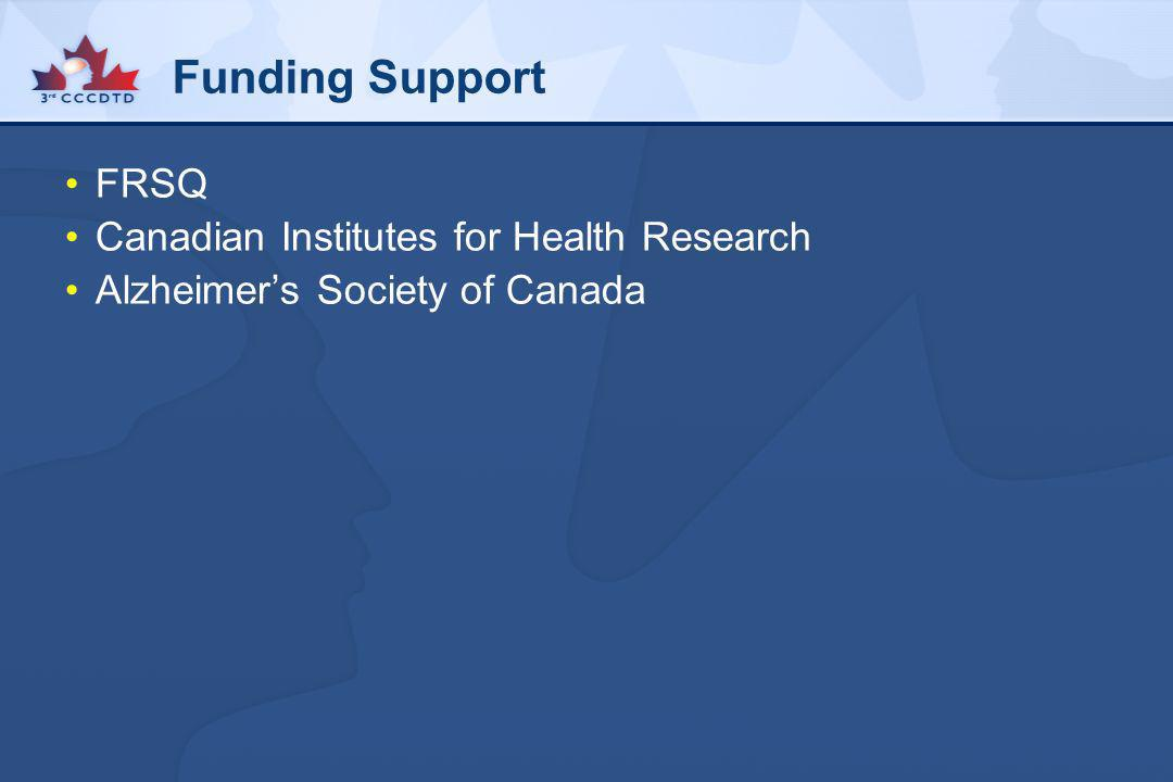 Funding Support FRSQ Canadian Institutes for Health Research Alzheimers Society of Canada