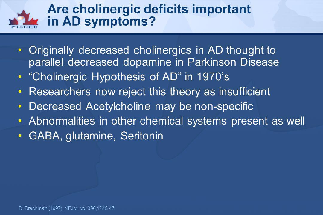 Are cholinergic deficits important in AD symptoms? Originally decreased cholinergics in AD thought to parallel decreased dopamine in Parkinson Disease