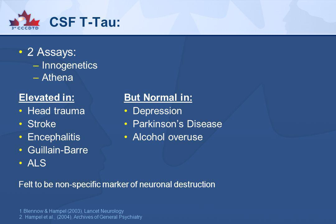 CSF T-Tau: 2 Assays: –Innogenetics –Athena But Normal in: Depression Parkinsons Disease Alcohol overuse Felt to be non-specific marker of neuronal des