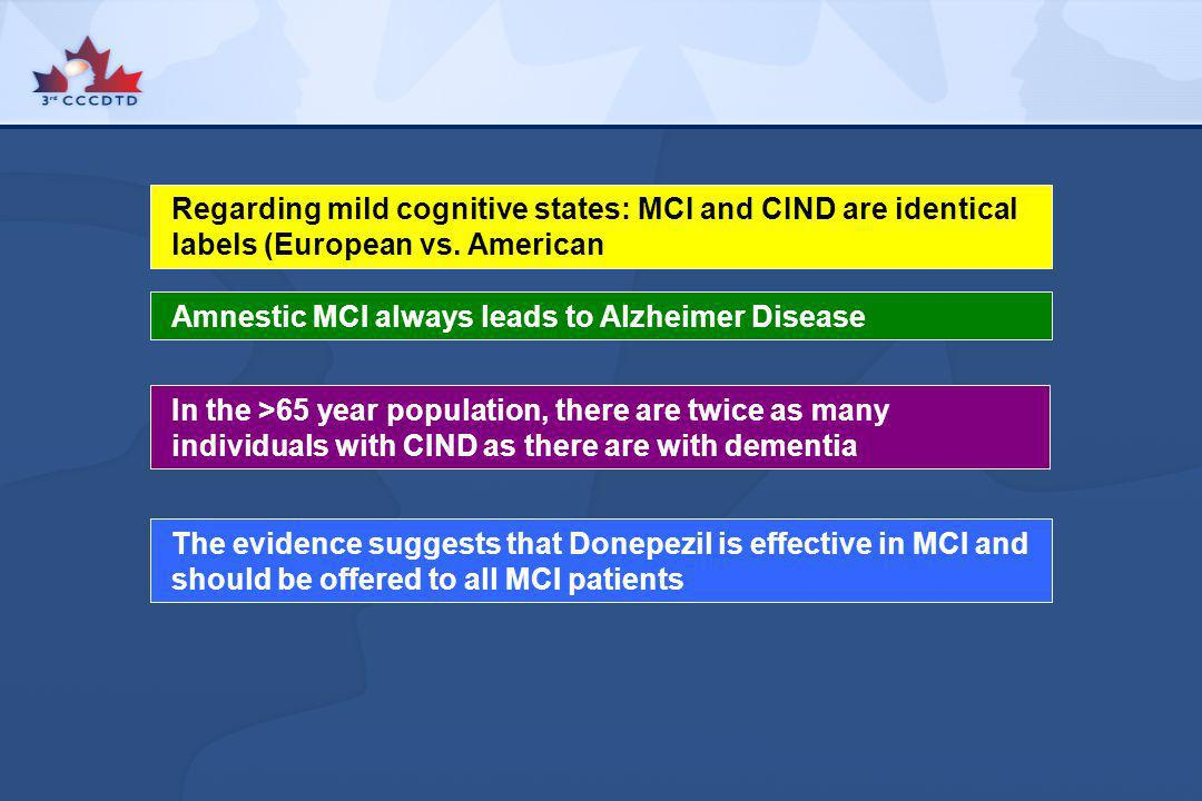 Regarding mild cognitive states: MCI and CIND are identical labels (European vs. American Amnestic MCI always leads to Alzheimer Disease In the >65 ye
