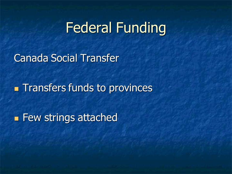 Federal Funding Canada Social Transfer Transfers funds to provinces Transfers funds to provinces Few strings attached Few strings attached