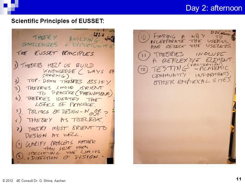 © 2012 4E Consult Dr. G. Strina, Aachen 11 Day 2: afternoon Scientific Principles of EUSSET: