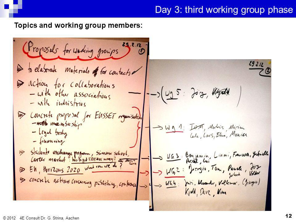 © 2012 4E Consult Dr. G. Strina, Aachen 12 Day 3: third working group phase Topics and working group members: