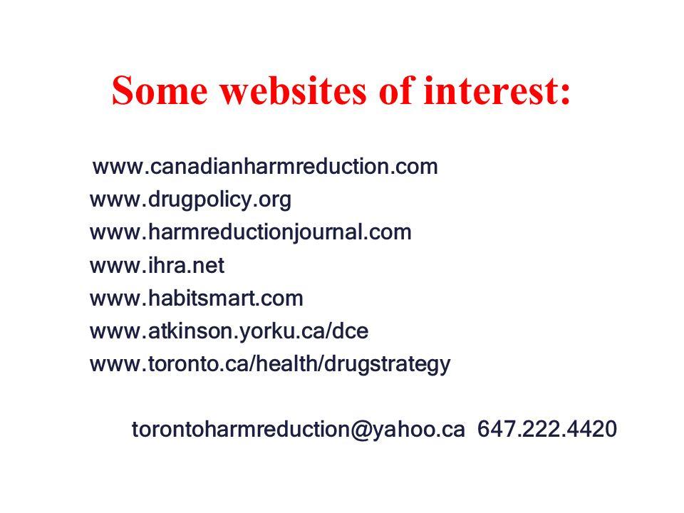 Some websites of interest: www.canadianharmreduction.com www.drugpolicy.org www.harmreductionjournal.com www.ihra.net www.habitsmart.com www.atkinson.yorku.ca/dce www.toronto.ca/health/drugstrategy torontoharmreduction@yahoo.ca 647.222.4420