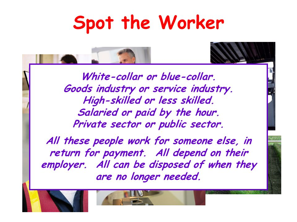 Spot the Worker White-collar or blue-collar. Goods industry or service industry. High-skilled or less skilled. Salaried or paid by the hour. Private s