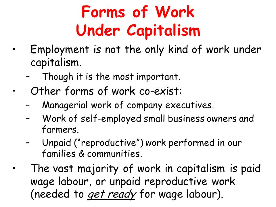 Forms of Work Under Capitalism Employment is not the only kind of work under capitalism. –Though it is the most important. Other forms of work co-exis