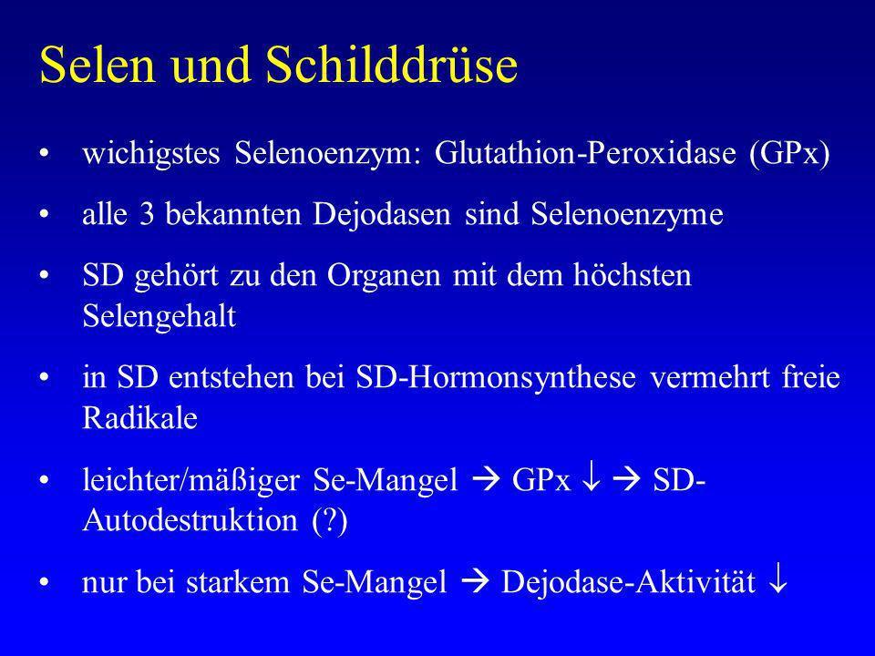 Selen und Schilddrüse wichigstes Selenoenzym: Glutathion-Peroxidase (GPx) alle 3 bekannten Dejodasen sind Selenoenzyme SD gehört zu den Organen mit dem höchsten Selengehalt in SD entstehen bei SD-Hormonsynthese vermehrt freie Radikale leichter/mäßiger Se-Mangel GPx SD- Autodestruktion (?) nur bei starkem Se-Mangel Dejodase-Aktivität