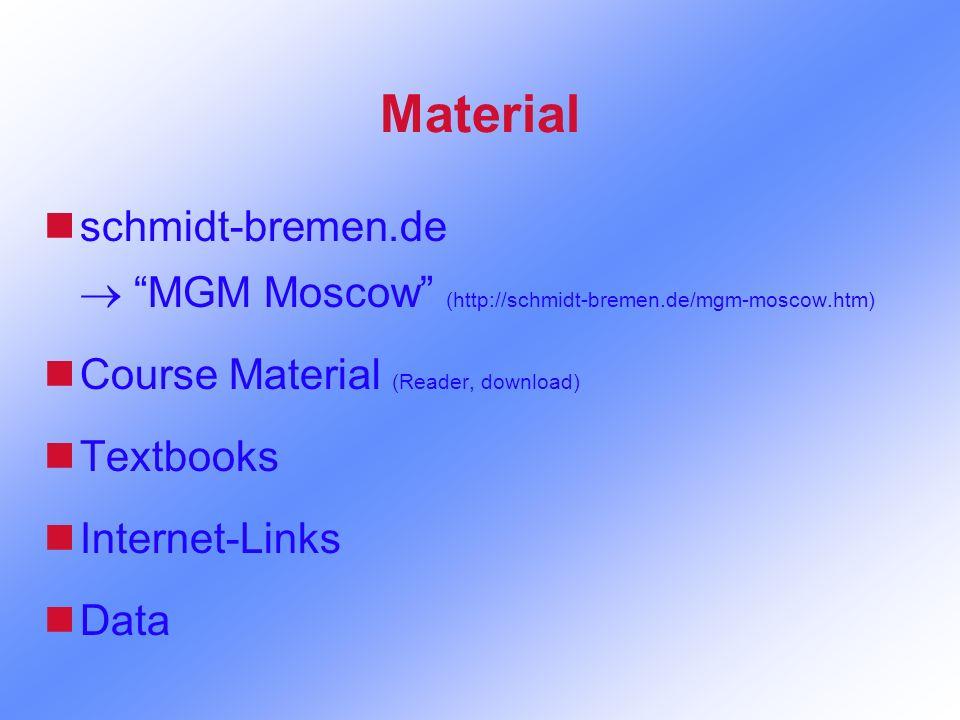 Material nschmidt-bremen.de MGM Moscow (http://schmidt-bremen.de/mgm-moscow.htm) nCourse Material (Reader, download) nTextbooks nInternet-Links nData