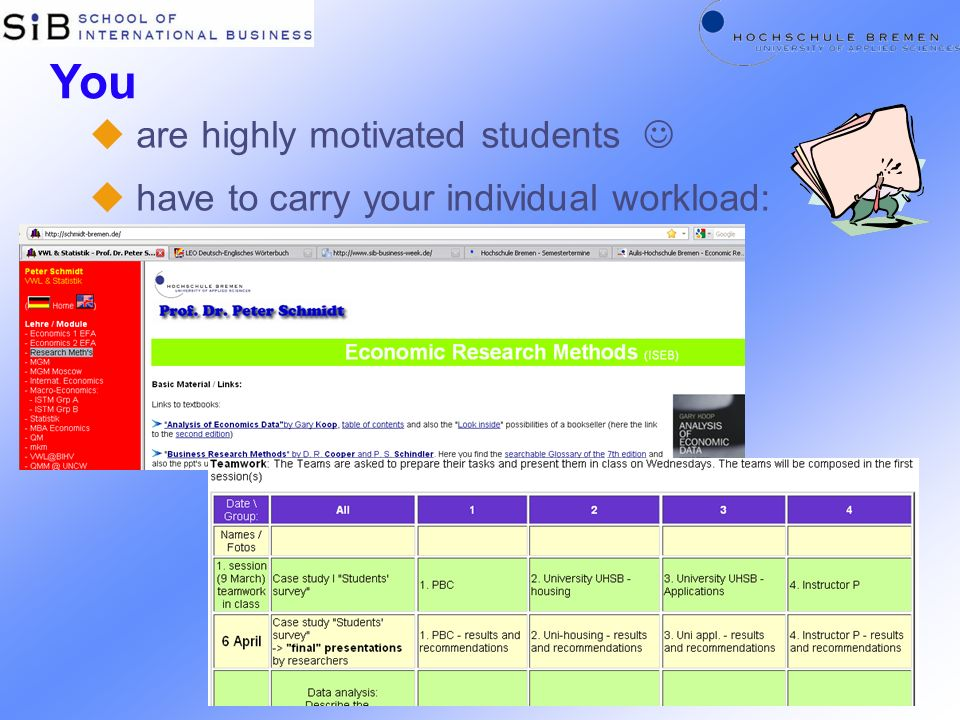 You u are highly motivated students u have to carry your individual workload: