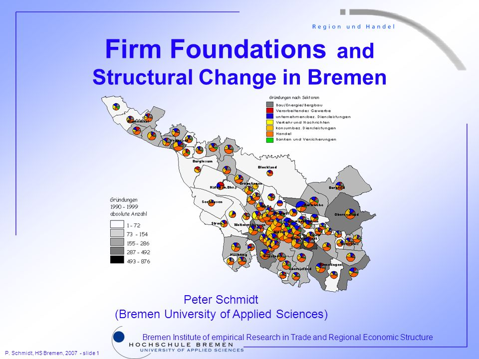 P. Schmidt, HS Bremen, 2007 - slide 1 Bremen Institute of empirical Research in Trade and Regional Economic Structure Firm Foundations and Structural