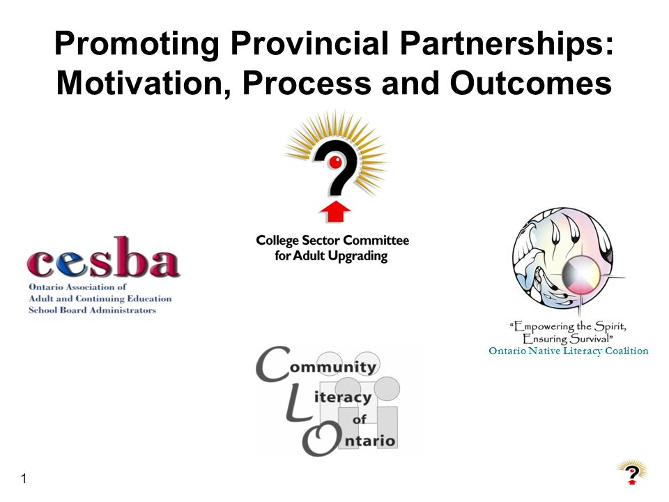 1 Promoting Provincial Partnerships: Motivation, Process and Outcomes Ontario Native Literacy Coalition