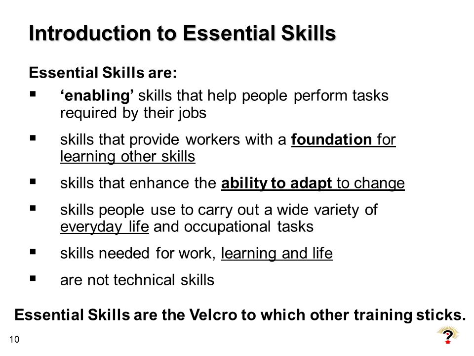 10 Introduction to Essential Skills Essential Skills are: enabling skills that help people perform tasks required by their jobs skills that provide wo