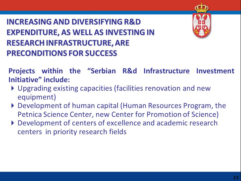 Projects within the Serbian R&d Infrastructure Investment Initiative include: Upgrading existing capacities (facilities renovation and new equipment)