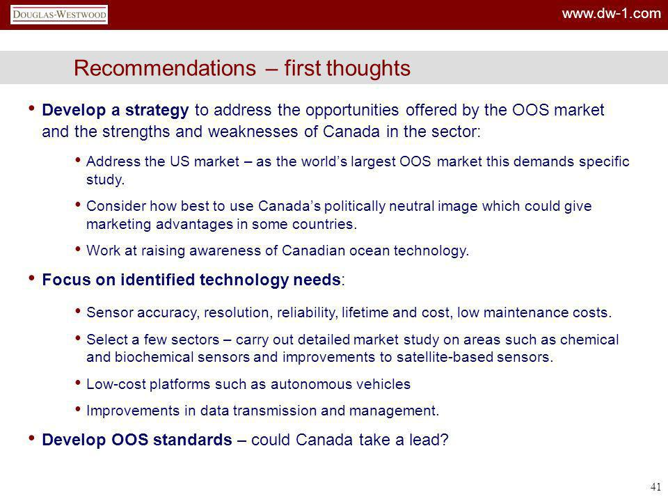 www.dw-1.com 41 Recommendations – first thoughts Develop a strategy to address the opportunities offered by the OOS market and the strengths and weakn