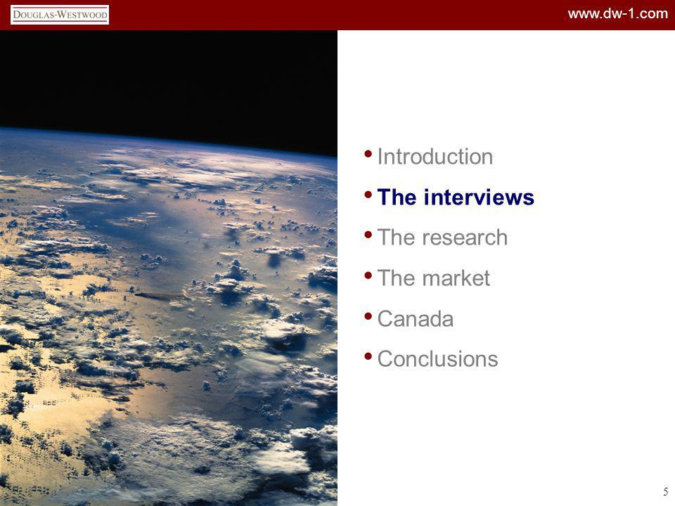 www.dw-1.com 36 Introduction The interviews The research The market Canada Conclusions