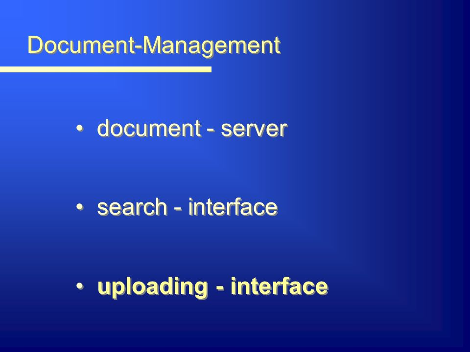 Document-Management document - server search - interface uploading - interface document - server search - interface uploading - interface