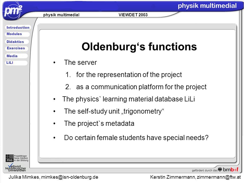 Julika Mimkes, mimkes@isn-oldenburg.de Kerstin Zimmermann, zimmermann@ftw.at physik multimedial VIEWDET 2003 Introduction Didaktics Modules Media Exercises LiLi The server 1.