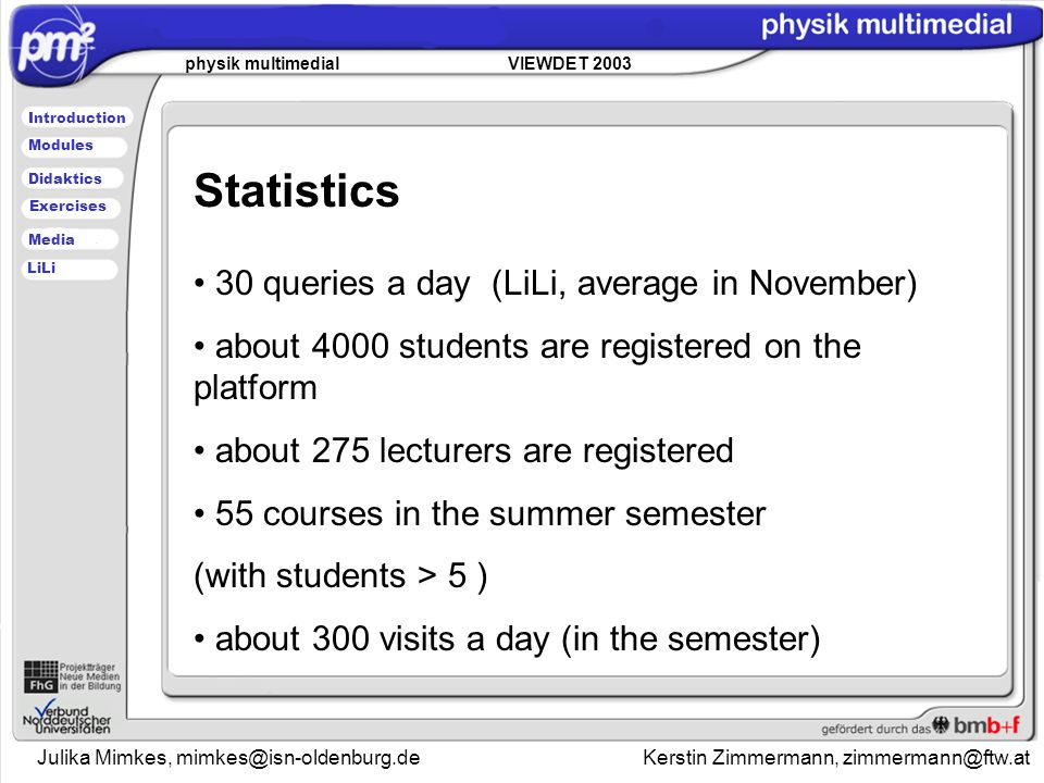 Julika Mimkes, mimkes@isn-oldenburg.de Kerstin Zimmermann, zimmermann@ftw.at physik multimedial VIEWDET 2003 Introduction Didaktics Modules Media Exercises LiLi Statistics 30 queries a day (LiLi, average in November) about 4000 students are registered on the platform about 275 lecturers are registered 55 courses in the summer semester (with students > 5 ) about 300 visits a day (in the semester)