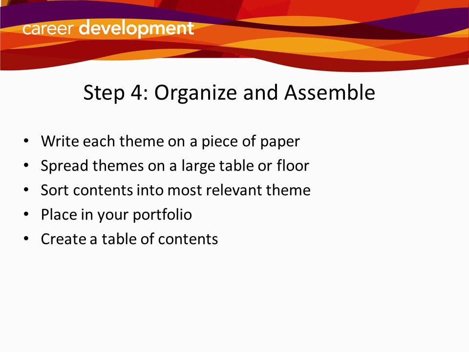 Step 4: Organize and Assemble Write each theme on a piece of paper Spread themes on a large table or floor Sort contents into most relevant theme Plac