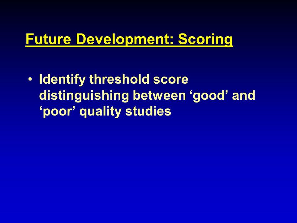 Future Development: Scoring Identify threshold score distinguishing between good and poor quality studies