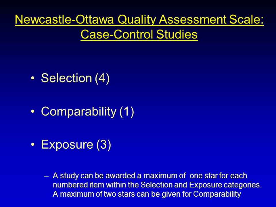 Newcastle-Ottawa Quality Assessment Scale: Case-Control Studies Selection (4) Comparability (1) Exposure (3) –A study can be awarded a maximum of one