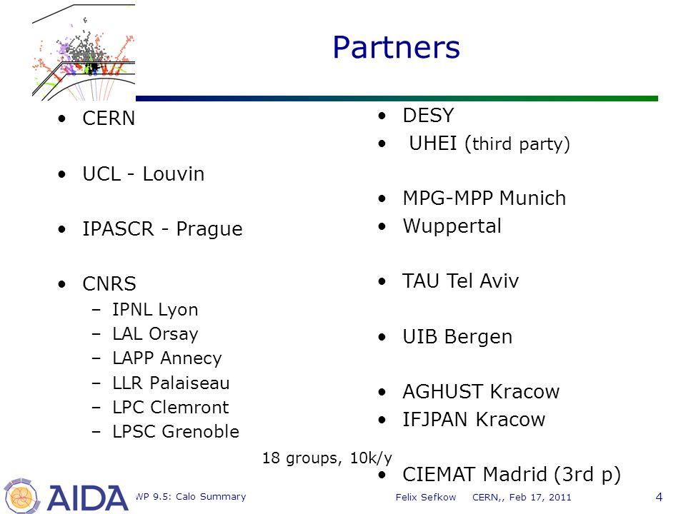 4 MC WP 9.5: Calo Summary Felix Sefkow CERN,, Feb 17, 2011 Partners CERN UCL - Louvin IPASCR - Prague CNRS –IPNL Lyon –LAL Orsay –LAPP Annecy –LLR Palaiseau –LPC Clemront –LPSC Grenoble DESY UHEI ( third party) MPG-MPP Munich Wuppertal TAU Tel Aviv UIB Bergen AGHUST Kracow IFJPAN Kracow CIEMAT Madrid (3rd p) 18 groups, 10k/y