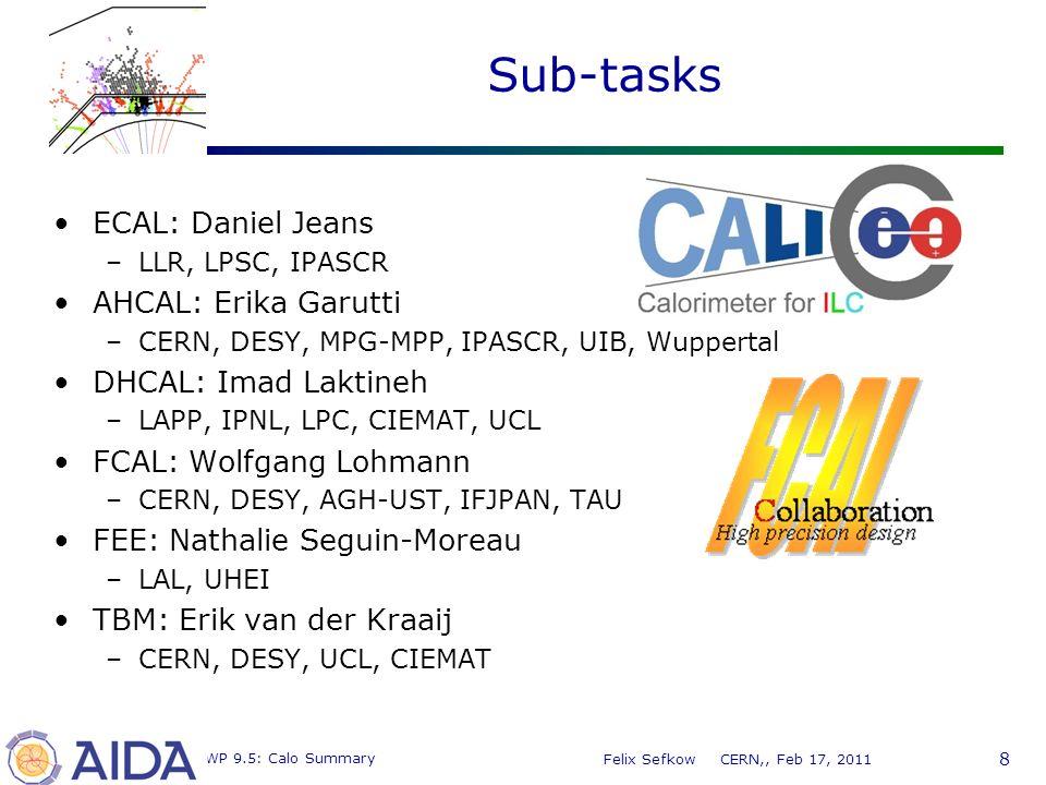 8 MC WP 9.5: Calo Summary Felix Sefkow CERN,, Feb 17, 2011 Sub-tasks ECAL: Daniel Jeans –LLR, LPSC, IPASCR AHCAL: Erika Garutti –CERN, DESY, MPG-MPP, IPASCR, UIB, Wuppertal DHCAL: Imad Laktineh –LAPP, IPNL, LPC, CIEMAT, UCL FCAL: Wolfgang Lohmann –CERN, DESY, AGH-UST, IFJPAN, TAU FEE: Nathalie Seguin-Moreau –LAL, UHEI TBM: Erik van der Kraaij –CERN, DESY, UCL, CIEMAT