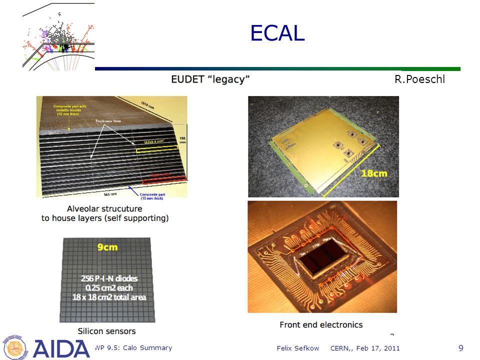 9 MC WP 9.5: Calo Summary Felix Sefkow CERN,, Feb 17, 2011 ECAL R.Poeschl