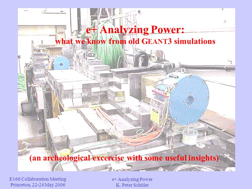 E166 Collaboration Meeting Princeton, 22-24 May 2006 e+ Analyzing Power K. Peter Schüler e+ Analyzing Power: what we know from old G EANT 3 simulation